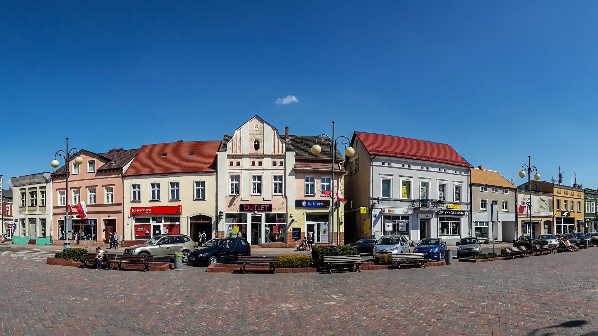 Fragment panoramy Rynku w Chodzieży. Fot. Marcin Maziarz