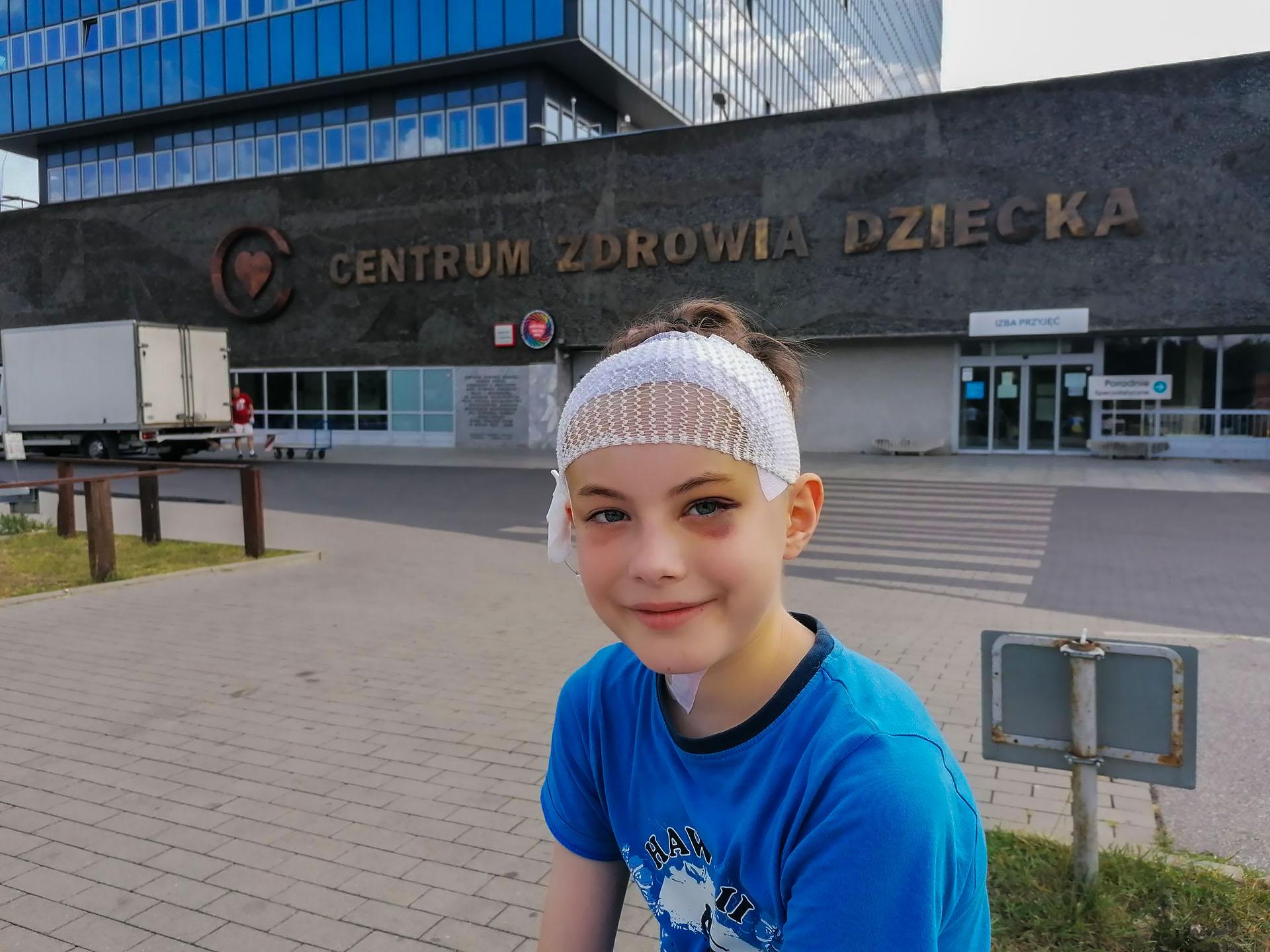 Filip Kaźmierczak po operacji w lipcu 2019 r. Fot. Archiwum rodzinne