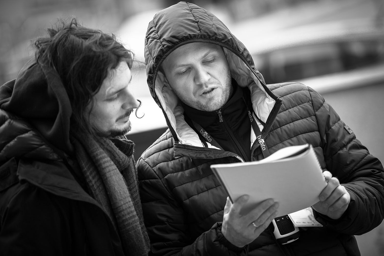 """Tymon Tykwiński i Tomasz Janczar na planie filmu """"Echo"""". Fot. Zbigniew Komorowski"""