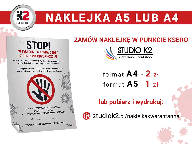 Naklejki można kupić w Centrum Ksero Studio K2 w Pile lub zamówić przez internet. Projekt Studio K2