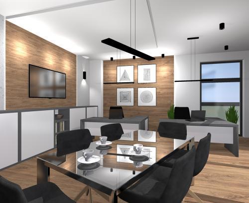 Wizualizacja wnętrza biurowego. Projekt: Kamila Kochanowska