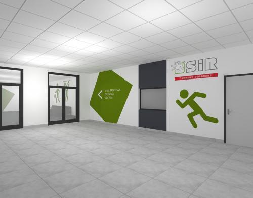 Wizualizacja wnętrza szkoły. Projekt: Kamila Kochanowska